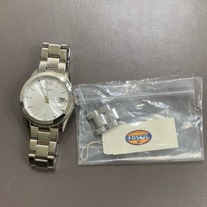Fossil silver and pearl watch
